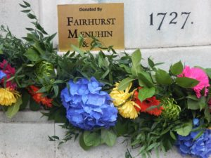 Flowers at the Gainsborough monument in Sudbury