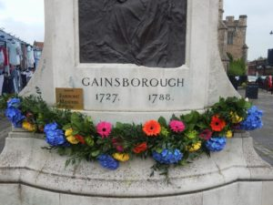 Flowers at the Gainsborough monument in Sudbury